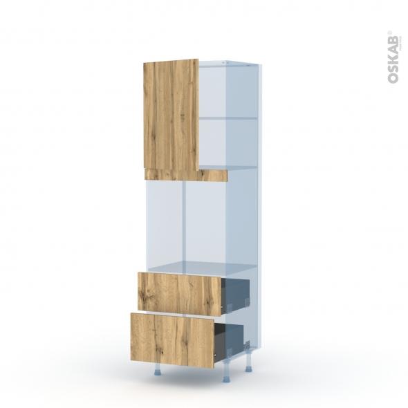 OKA Chêne - Kit Rénovation 18 - Colonne Four niche 60 N°2158 - 1 porte 2 casseroliers - L60xH195xP60