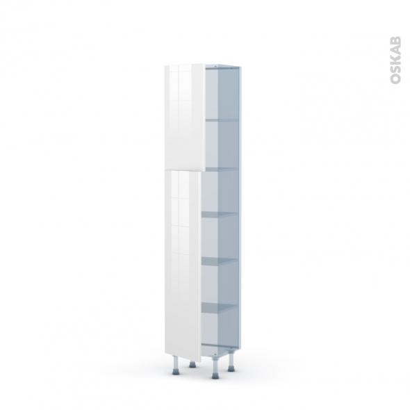 STECIA Blanc - Kit Rénovation 18 - Armoire étagère N°1926   - Prof.37  2 portes - L40xH195xP37,5