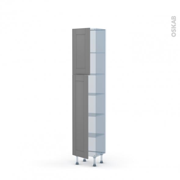 FILIPEN Gris - Kit Rénovation 18 - Armoire étagère N°1926   - Prof.37  2 portes - L40xH195xP37,5