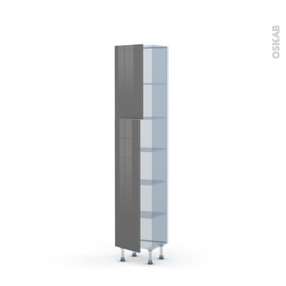 STECIA Gris - Kit Rénovation 18 - Armoire étagère N°1926   - Prof.37  2 portes - L40xH195xP37,5