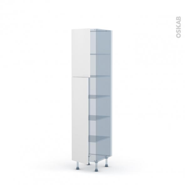 GINKO Blanc - Kit Rénovation 18 - Armoire étagère N°1926 - 2 portes - L40xH195xP60