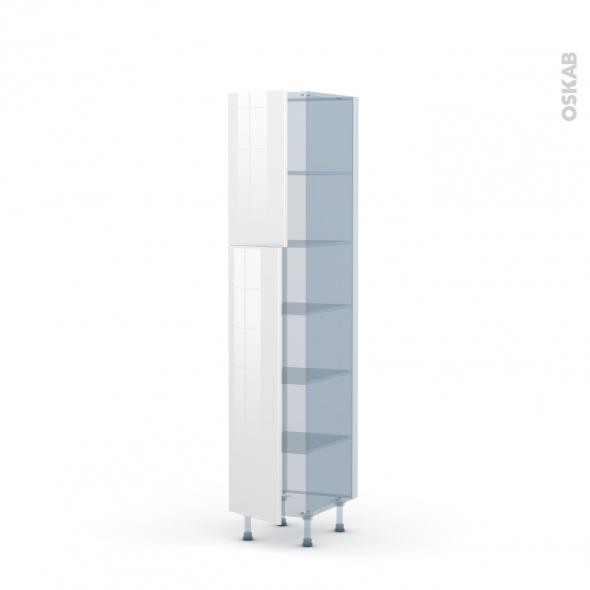 STECIA Blanc - Kit Rénovation 18 - Armoire étagère N°1926  - 2 portes - L40xH195xP60