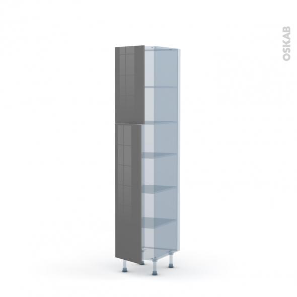 STECIA Gris - Kit Rénovation 18 - Armoire étagère N°1926  - 2 portes - L40xH195xP60