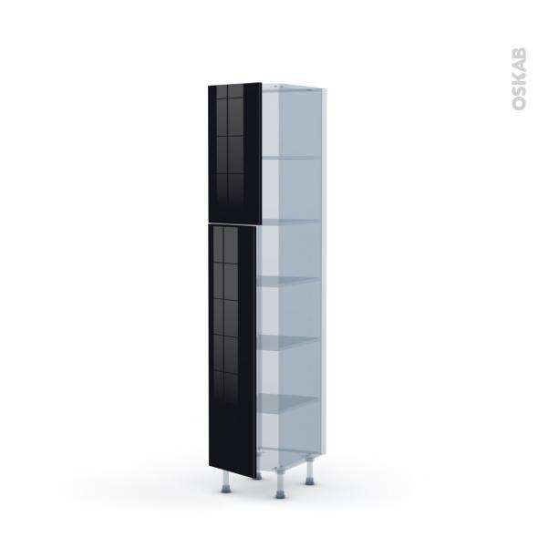 KERIA Noir - Kit Rénovation 18 - Armoire étagère N°1926  - 2 portes - L40xH195xP60