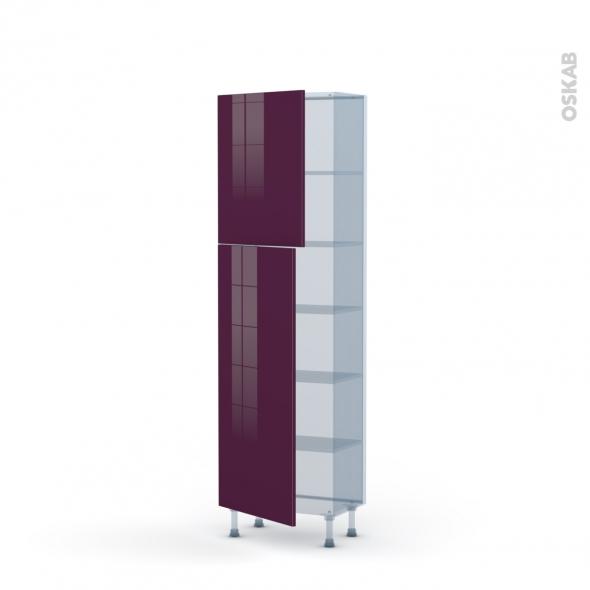 KERIA Aubergine - Kit Rénovation 18 - Armoire étagère N°2127   - Prof.37  2 portes - L60xH195xP37,5