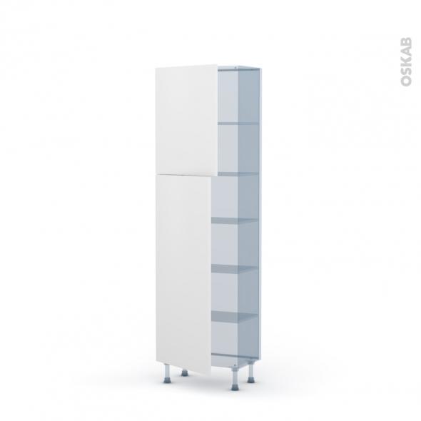 GINKO Blanc - Kit Rénovation 18 - Armoire étagère N°2127 - Prof.37 2 portes - L60xH195xP37,5