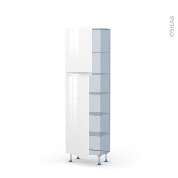 IPOMA Blanc - Kit Rénovation 18 - Armoire étagère N°2127   - Prof.37  2 portes - L60xH195xP37,5