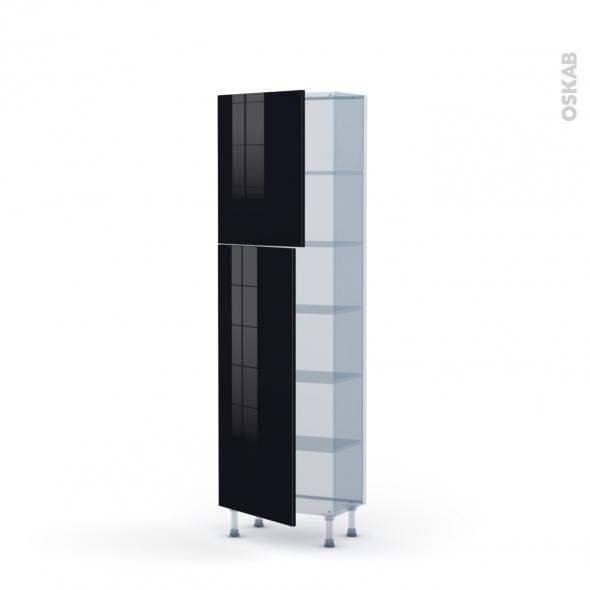 KERIA Noir - Kit Rénovation 18 - Armoire étagère N°2127   - Prof.37  2 portes - L60xH195xP37,5