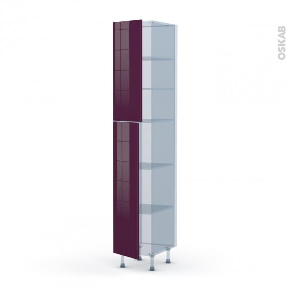 KERIA Aubergine - Kit Rénovation 18 - Armoire étagère N°2326  - 2 portes - L40xH217xP60