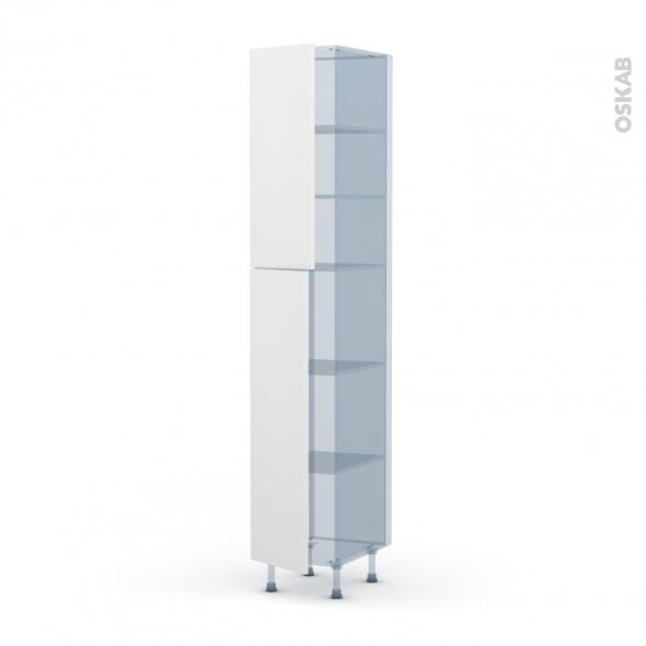 GINKO Blanc - Kit Rénovation 18 - Armoire étagère N°2326 - 2 portes - L40xH217xP60