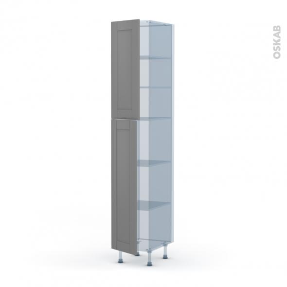 FILIPEN Gris - Kit Rénovation 18 - Armoire étagère N°2326  - 2 portes - L40xH217xP60