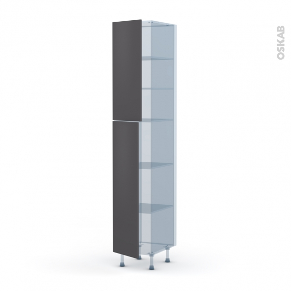 GINKO Gris - Kit Rénovation 18 - Armoire étagère N°2326  - 2 portes - L40xH217xP60