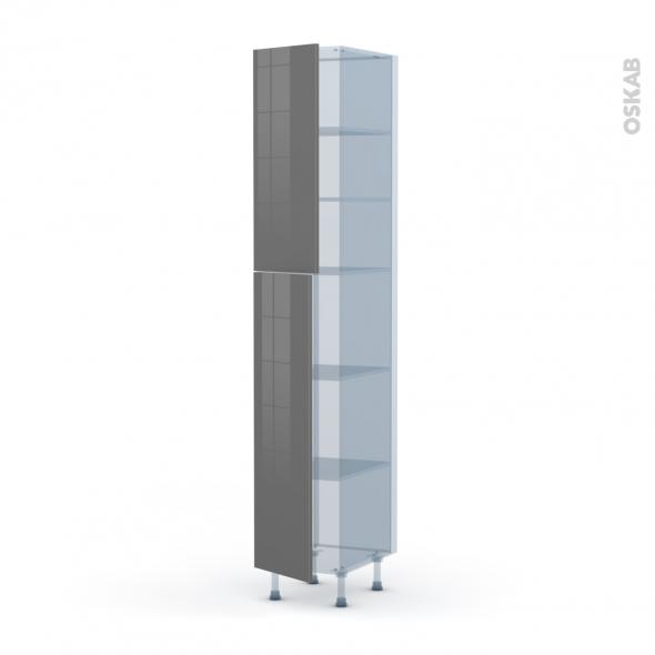 STECIA Gris - Kit Rénovation 18 - Armoire étagère N°2326  - 2 portes - L40xH217xP60