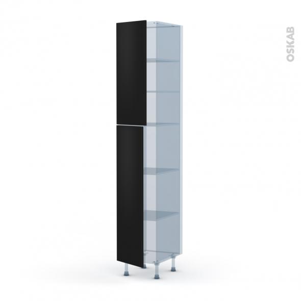 GINKO Noir - Kit Rénovation 18 - Armoire étagère N°2326  - 2 portes - L40xH217xP60