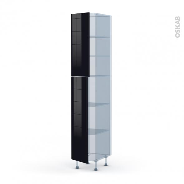 KERIA Noir - Kit Rénovation 18 - Armoire étagère N°2326  - 2 portes - L40xH217xP60