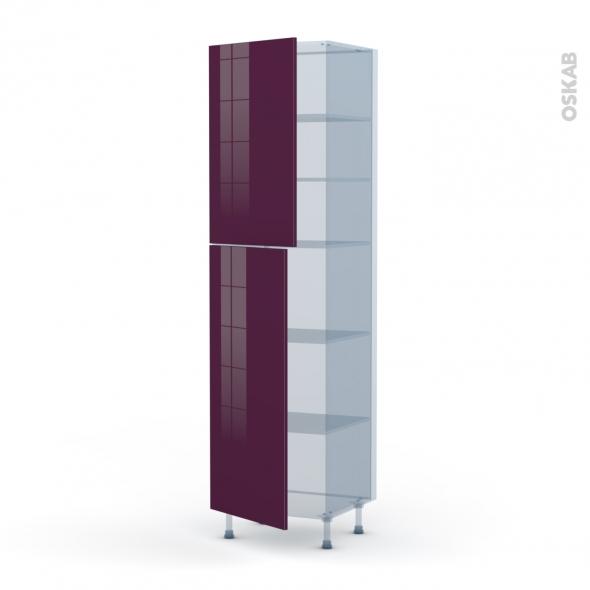 KERIA Aubergine - Kit Rénovation 18 - Armoire étagère N°2427  - 2 portes - L60xH217xP60