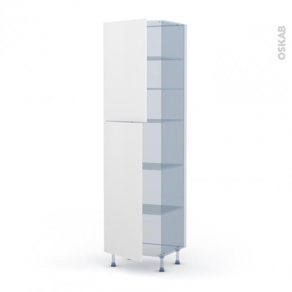 GINKO Blanc - Kit Rénovation 18 - Armoire étagère N°2427 - 2 portes - L60xH217xP60