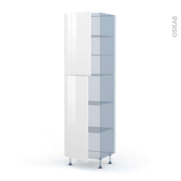 STECIA Blanc - Kit Rénovation 18 - Armoire étagère N°2427  - 2 portes - L60xH217xP60