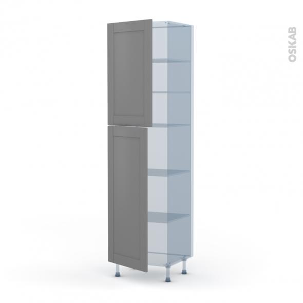 FILIPEN Gris - Kit Rénovation 18 - Armoire étagère N°2427  - 2 portes - L60xH217xP60