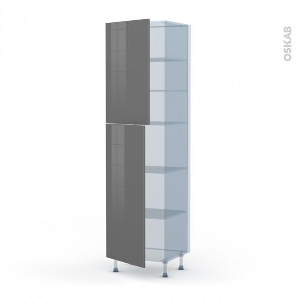 STECIA Gris - Kit Rénovation 18 - Armoire étagère N°2427  - 2 portes - L60xH217xP60