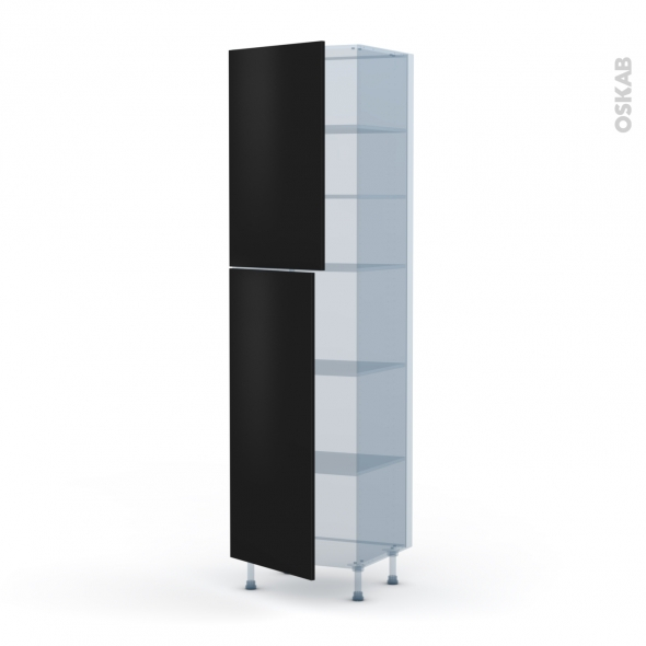GINKO Noir - Kit Rénovation 18 - Armoire étagère N°2427  - 2 portes - L60xH217xP60
