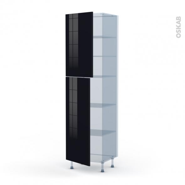 KERIA Noir - Kit Rénovation 18 - Armoire étagère N°2427  - 2 portes - L60xH217xP60