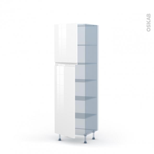 IPOMA Blanc brillant - Kit Rénovation 18 - Armoire étagère N°2721  - 2 portes - L60xH195xP60