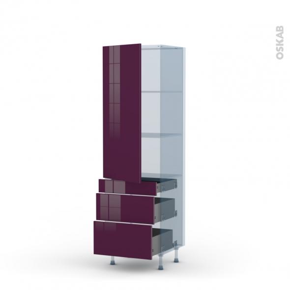 KERIA Aubergine - Kit Rénovation 18 - Armoire étagère N°2758  - 3 tiroirs casserolier - L60xH195xP60