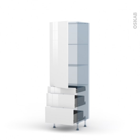 STECIA Blanc - Kit Rénovation 18 - Armoire étagère N°2758  - 3 tiroirs casserolier - L60xH195xP60