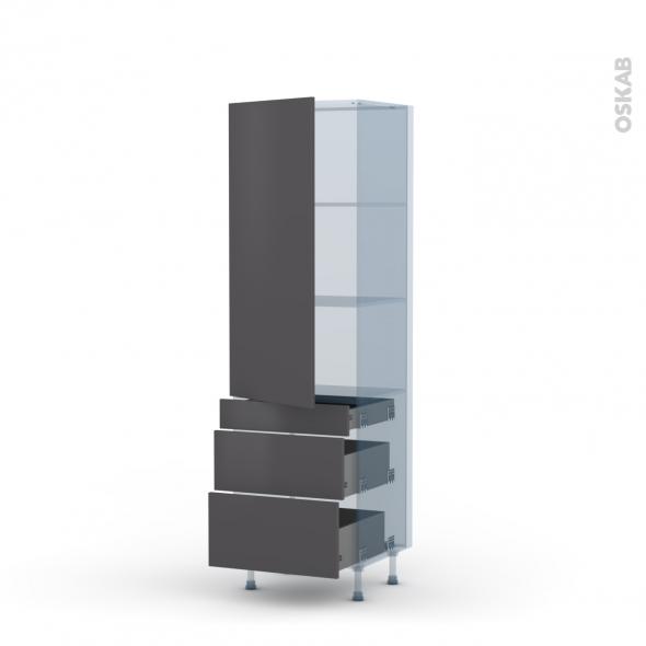 GINKO Gris - Kit Rénovation 18 - Armoire étagère N°2758  - 3 tiroirs casserolier - L60xH195xP60