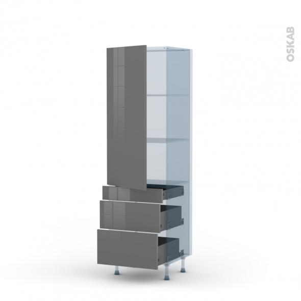 STECIA Gris - Kit Rénovation 18 - Armoire étagère N°2758  - 3 tiroirs casserolier - L60xH195xP60