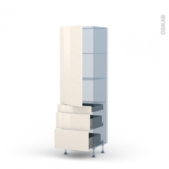 KERIA Ivoire - Kit Rénovation 18 - Armoire étagère N°2758  - 3 tiroirs casserolier - L60xH195xP60