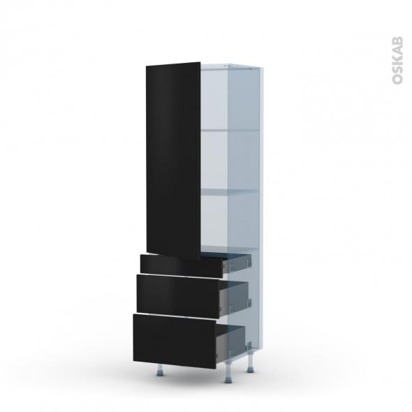 GINKO Noir - Kit Rénovation 18 - Armoire étagère N°2758  - 3 tiroirs casserolier - L60xH195xP60