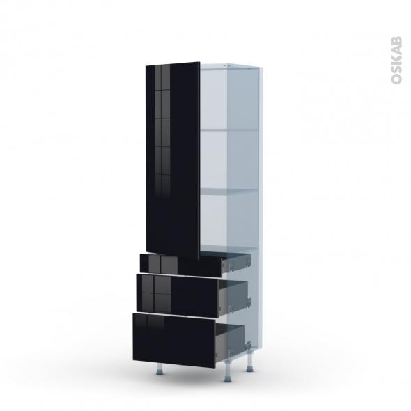 KERIA Noir - Kit Rénovation 18 - Armoire étagère N°2758  - 3 tiroirs casserolier - L60xH195xP60