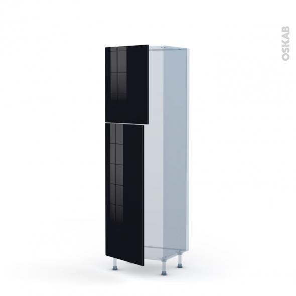 KERIA Noir - Kit Rénovation 18 - Armoire frigo N°2721  - 2 portes - L60xH195xP60