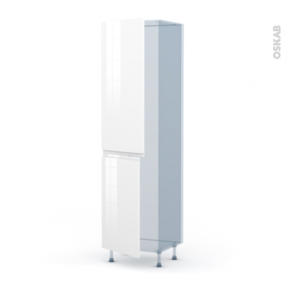 IPOMA Blanc brillant - Kit Rénovation 18 - Armoire frigo N°2724  - 2 portes - L60xH217xP60