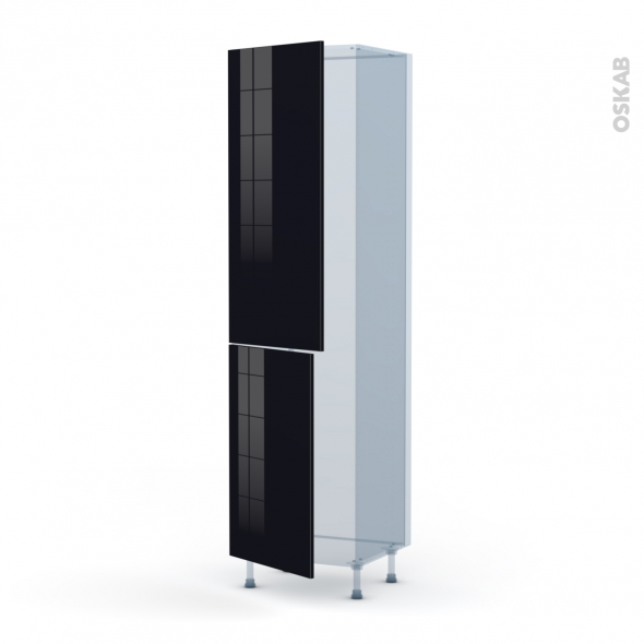 KERIA Noir - Kit Rénovation 18 - Armoire frigo N°2724  - 2 portes - L60xH217xP60