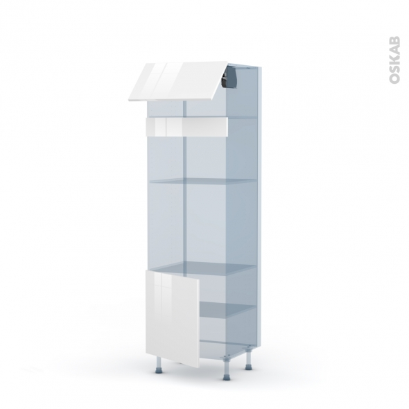 STECIA Blanc - Kit Rénovation 18 - Colonne Four+MO 36/38 N°1016  - 1 abattant 1 porte - L60xH195xP60