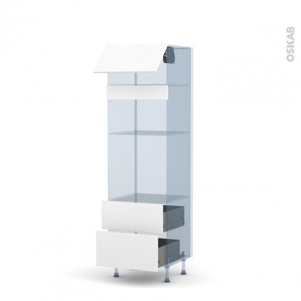 GINKO Blanc - Kit Rénovation 18 - Colonne Four+MO 36/38 N°1058 - 1 abattant 2 casseroliers - L60xH195xP60