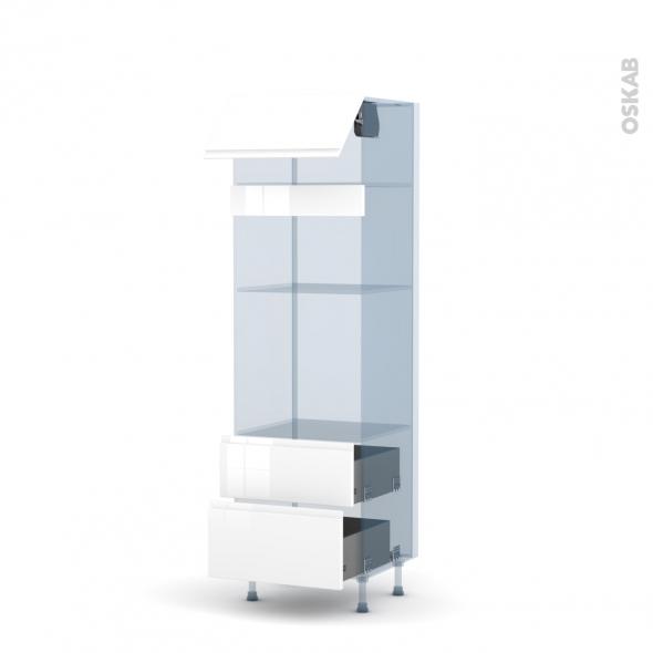 IPOMA Blanc - Kit Rénovation 18 - Colonne Four+MO 36/38 N°1058  - 1 abattant 2 casseroliers - L60xH195xP60