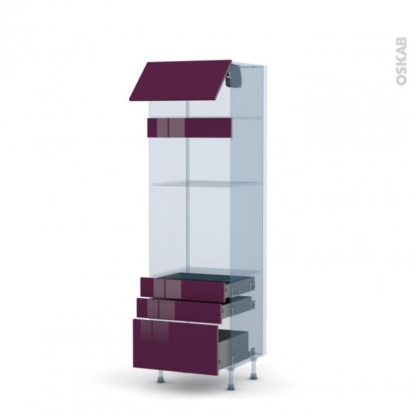 KERIA Aubergine - Kit Rénovation 18 - Colonne Four+MO 36/38 N°1059  - 1 abattant 3 tiroirs - L60xH195xP60