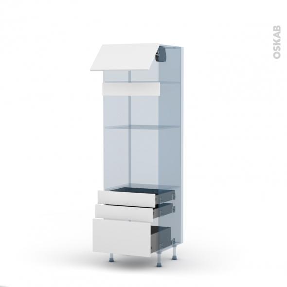 GINKO Blanc - Kit Rénovation 18 - Colonne Four+MO 36/38 N°1059 - 1 abattant 3 tiroirs - L60xH195xP60
