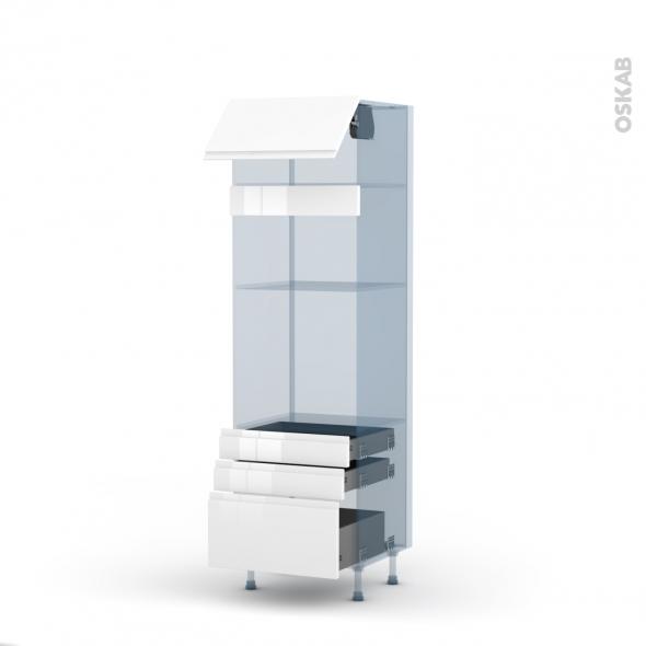 IPOMA Blanc - Kit Rénovation 18 - Colonne Four+MO 36/38 N°1059  - 1 abattant 3 tiroirs - L60xH195xP60