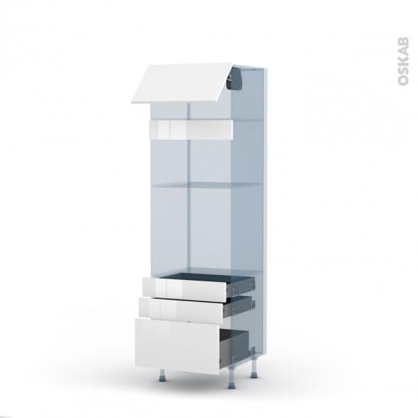 STECIA Blanc - Kit Rénovation 18 - Colonne Four+MO 36/38 N°1059  - 1 abattant 3 tiroirs - L60xH195xP60