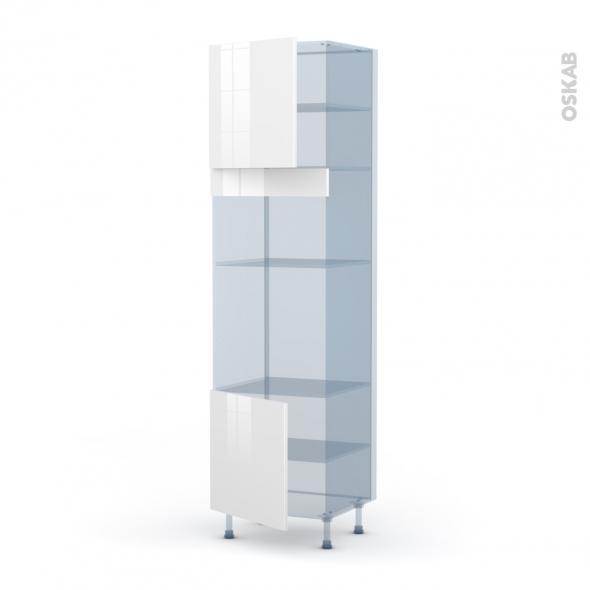 STECIA Blanc - Kit Rénovation 18 - Colonne Four+MO 36/38 N°1616  - 2 portes - L60xH217xP60
