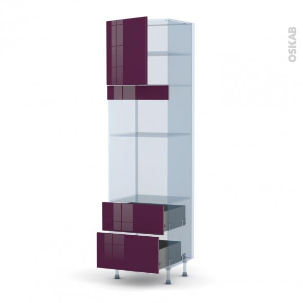 KERIA Aubergine - Kit Rénovation 18 - Colonne Four+MO 36/38 N°1658  - 1 porte 2 casseroliers - L60xH217xP60