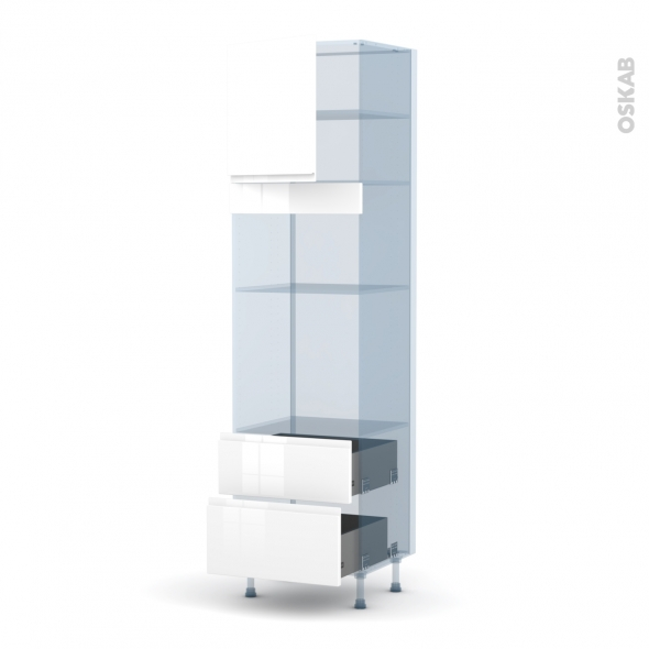 IPOMA Blanc - Kit Rénovation 18 - Colonne Four+MO 36/38 N°1658  - 1 porte 2 casseroliers - L60xH217xP60