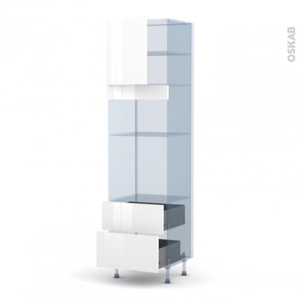 STECIA Blanc - Kit Rénovation 18 - Colonne Four+MO 36/38 N°1658  - 1 porte 2 casseroliers - L60xH217xP60