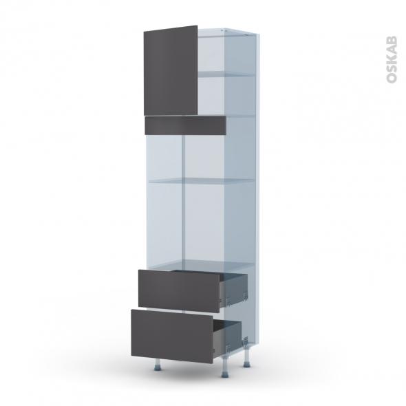 GINKO Gris - Kit Rénovation 18 - Colonne Four+MO 36/38 N°1658  - 1 porte 2 casseroliers - L60xH217xP60