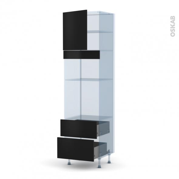 GINKO Noir - Kit Rénovation 18 - Colonne Four+MO 36/38 N°1658  - 1 porte 2 casseroliers - L60xH217xP60